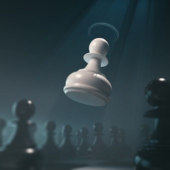 Conceito da parte de xadrez para a competição do negócio e a estratégia, rendição do jogo de mesa 3d.