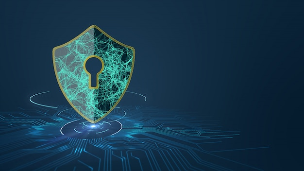 Conceito da segurança do cyber da proteção de dados com ícone do protetor no projeto da placa de circuito impresso (pwb).