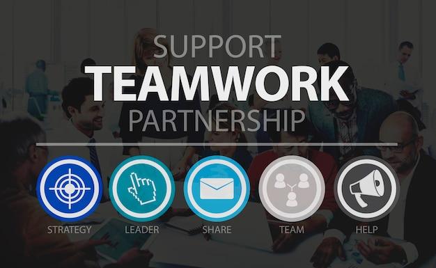 Conceito da unidade da colaboração da parceria do apoio dos trabalhos de equipa