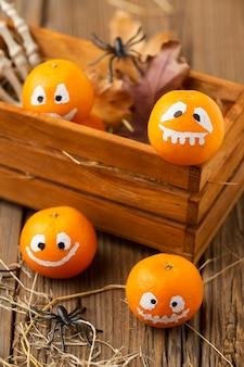 Conceito de abóboras de halloween em close-up