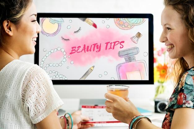 Conceito de acessórios de maquiagem dicas de beleza