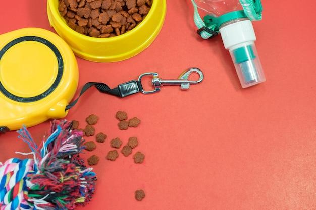 Conceito de acessórios para animais de estimação. taças com comida, trela automática, corda