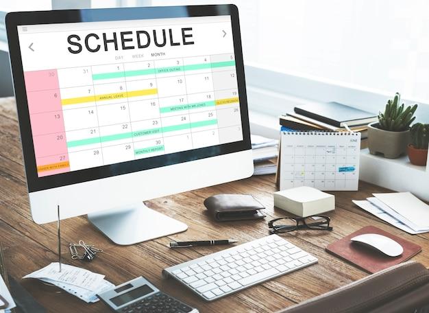 Conceito de agendamento de agenda de atividades