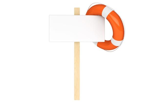Conceito de ajuda. boia salva-vidas com placa em branco sobre fundo branco