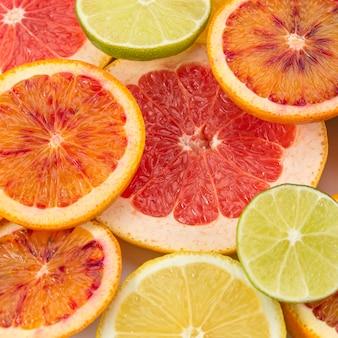 Conceito de alimentação saudável, close-up cítrico