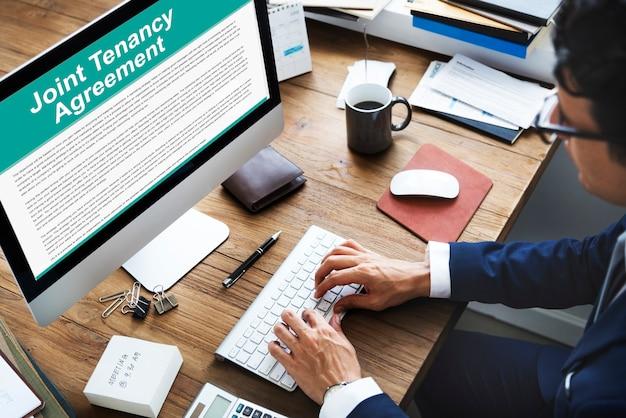 Conceito de aluguel de propriedade de contrato de locação conjunta