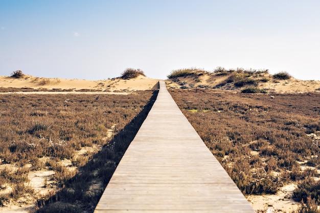 Conceito de ambição, realização e longo caminho - calçadão de madeira na praia