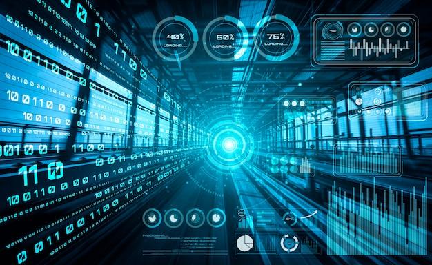 Conceito de análise de dados com fundo de transferência digital de movimento de alta velocidade