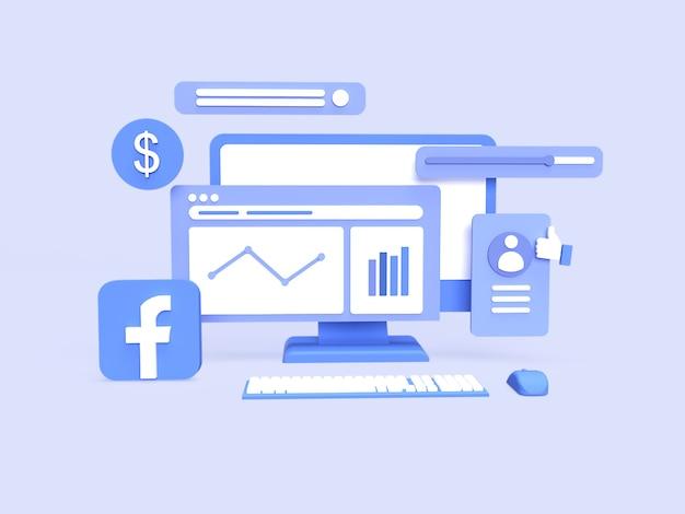 Conceito de análise de dados de campanha de agência de anúncios do facebook 3d com fundo azul renderizado