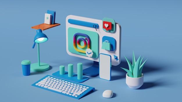 Conceito de análise de marketing de instagram de mídia social