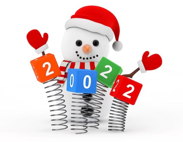 Conceito de ano novo. boneco de neve perto de cubos de primavera de natal com sinal de ano novo de 2022 em um fundo branco. renderização 3d