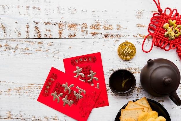 Conceito de ano novo chinês com bule de chá