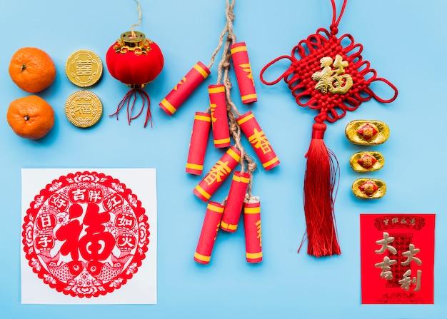 Conceito de ano novo chinês com vários elementos