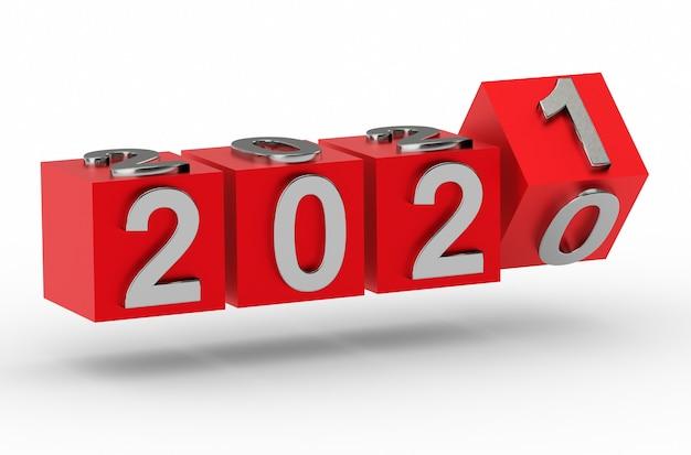 Conceito de ano novo. cubos com o número 2021 substituem 2020. renderização 3d