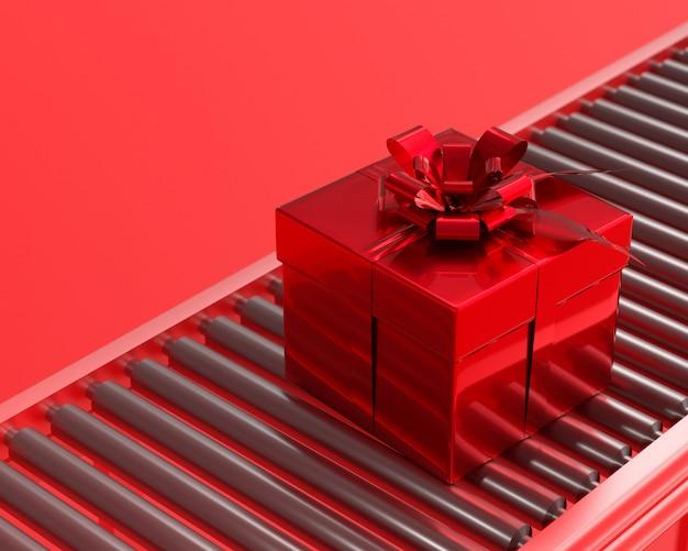 Conceito de ano novo e natal caixa de presente vermelha.