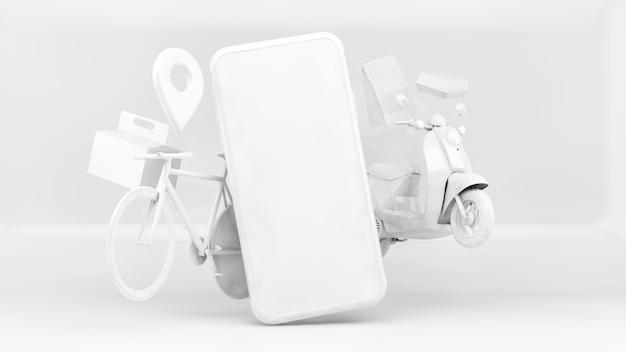 Conceito de aplicativo de entrega em arte de papel em renderização 3d