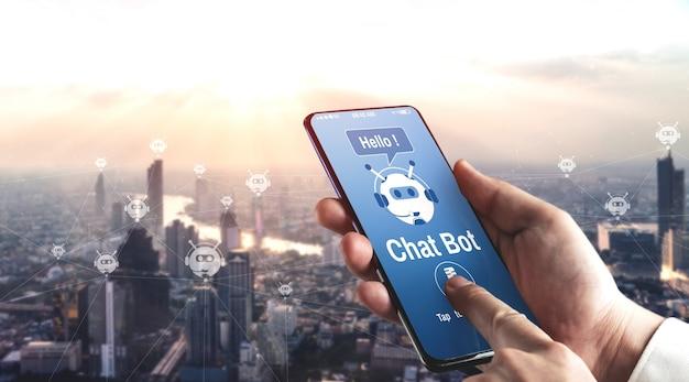 Conceito de aplicativo de serviço ao cliente digital inteligente ai chatbot.