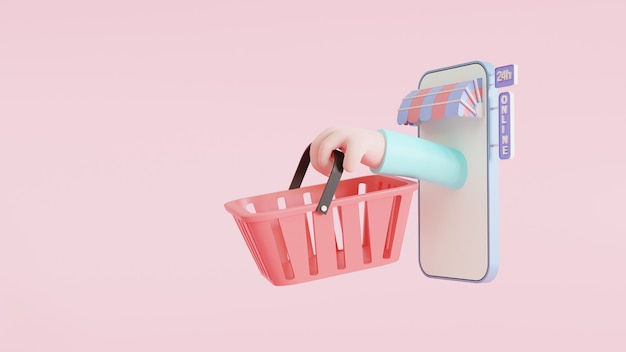 Conceito de aplicativo online de compras. um smartphone com um braço segurando uma cesta de compras. brilhante e colorido. negócios online. ilustração de renderização 3d