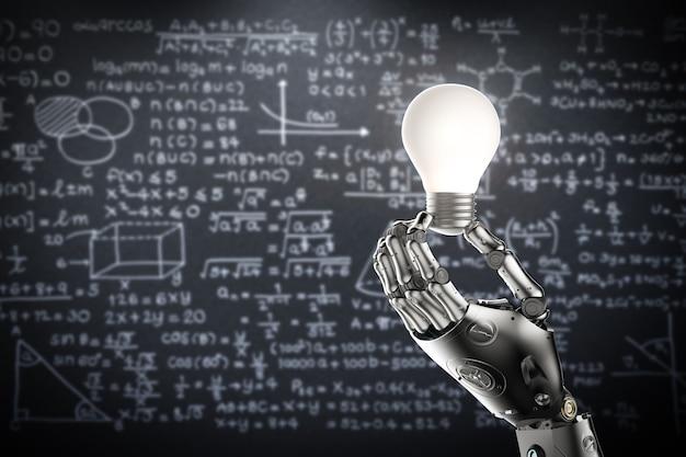 Conceito de aprendizado de máquina com lâmpada de renderização 3d com mão de robô