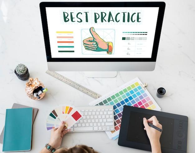 Conceito de aprovação de polegar para cima de prática recomendada