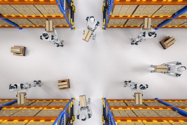 Conceito de armazém de automação com renderização 3d de trabalho ciborgue no armazém