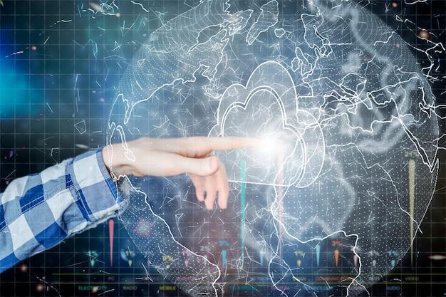 Conceito de armazenamento de dados em nuvem, nuvem flutuar no ar e empresário tocar
