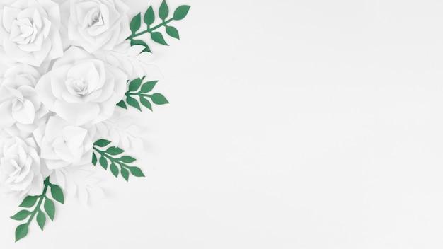 Conceito de arte com flores de papel branco