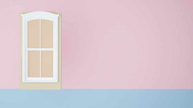 Conceito de arte de papel de porta fundo de cor pastel de renderização -3d