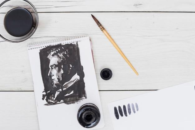 Conceito de artista moderno com vista superior da mesa
