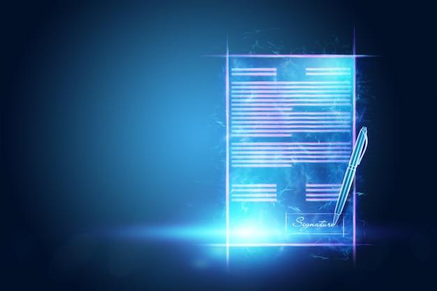 Conceito de assinatura eletrónica, negócio à distância, imagem de um holograma de um contrato e de uma caneta para assinatura. colaboração remota, negócios online. mídia mista. ilustração 3d, renderização em 3d.