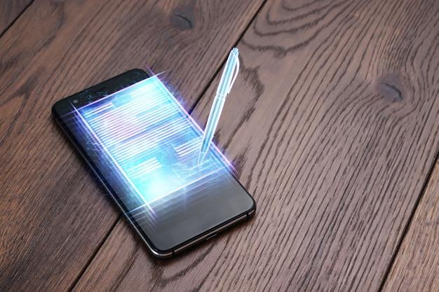 Conceito de assinatura eletrónica, negócio à distância, imagem de um telefone e um holograma de um contrato e uma caneta para assinatura. colaboração remota, negócios online, espaço de cópia. mídia mista.