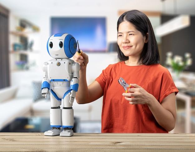 Conceito de assistente de robô com robô de renderização 3d de correção de mulher asiática