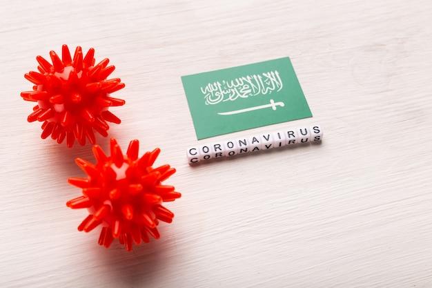 Conceito de ataque de coronavírus. arábia saudita luta contra covid-19. conceito de como o coronavírus ataca a arábia saudita em branco