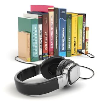 Conceito de audiolivro. fones de ouvido e livros sobre fundo branco isolado.
