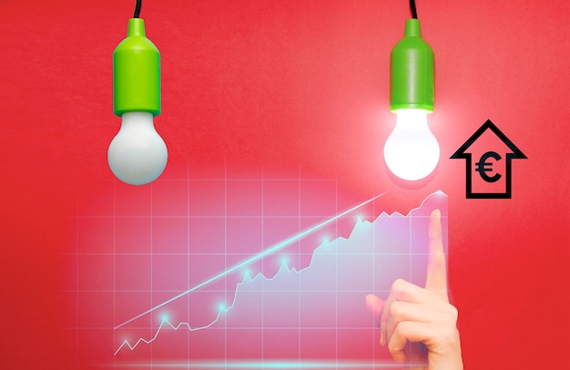 Conceito de aumento de lâmpada desligada e onlight