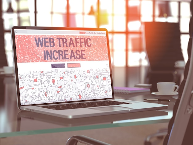 Conceito de aumento de tráfego da web. closeup landing page na tela do laptop em doodle design style. no plano de fundo do local de trabalho confortável no escritório moderno. imagem desfocada e tonificada. renderização 3d.