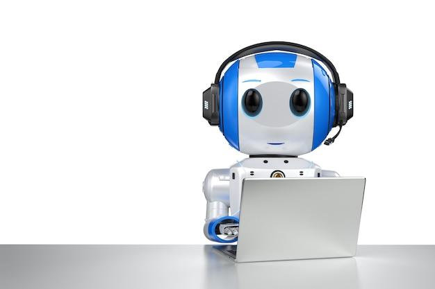 Conceito de automação de atendimento ao cliente com robô fofo de renderização 3d trabalhando com fone de ouvido e notebook