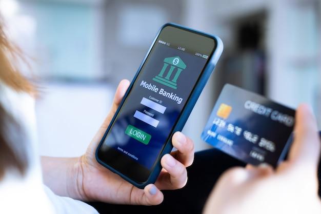 Conceito de banco on-line móvel.