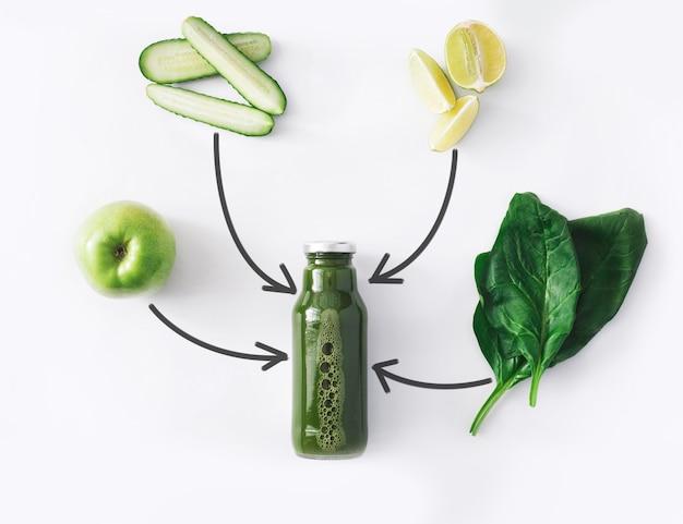 Conceito de bebida de limpeza de desintoxicação, ingredientes verdes de smoothie de vegetais. suco natural, orgânico e saudável em garrafa para dieta para perda de peso ou dias de jejum. mistura de pepino, maçã, limão e espinafre isolada no branco