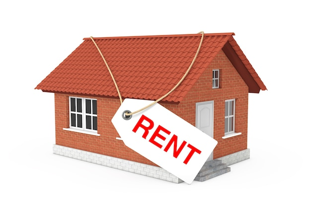 Conceito de bens imobiliários. alugue a etiqueta de etiqueta sobre a construção de uma casa moderna com telhado vermelho e paredes de tijolo em um fundo branco. renderização 3d
