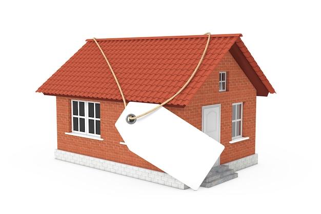 Conceito de bens imobiliários. etiqueta da etiqueta em branco com espaço vazio para seu projeto sobre a construção de uma casa moderna com telhado vermelho e paredes de tijolo em um fundo branco. renderização 3d