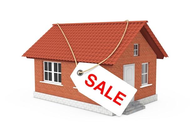 Conceito de bens imobiliários. venda etiqueta etiqueta sobre edifício de casa moderna com telhado vermelho e paredes de tijolo em um fundo branco. renderização 3d