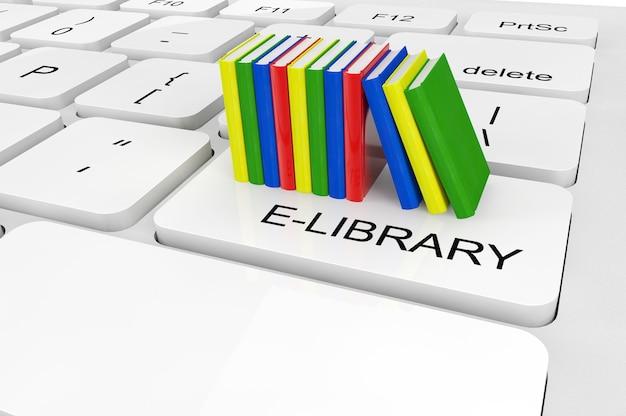 Conceito de biblioteca eletrônica. livros em close-up extremo em um teclado