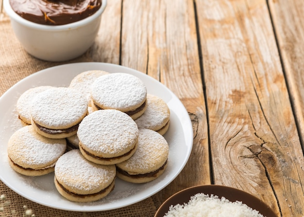 Conceito de biscoito alfajores delicioso