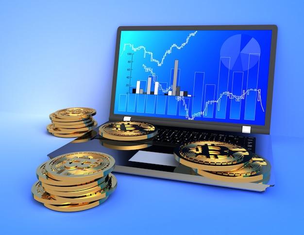 Conceito de bitcoin e laptop 3d. ilustração renderizada 3d