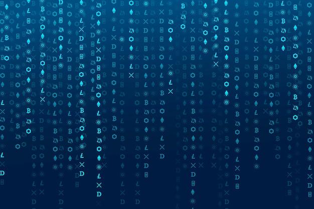 Conceito de blockchain de código aberto com codificação de criptomoeda digital de fundo azul