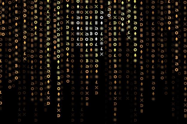 Conceito de blockchain de código aberto com codificação de criptomoeda digital de fundo preto