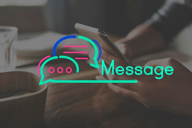 Conceito de bolha de discurso de conexão de comunicação