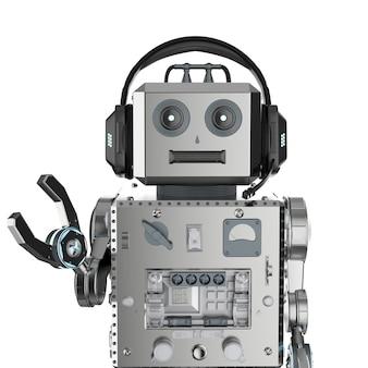 Conceito de bot de bate-papo com brinquedo de lata de robô de renderização em 3d com fone de ouvido