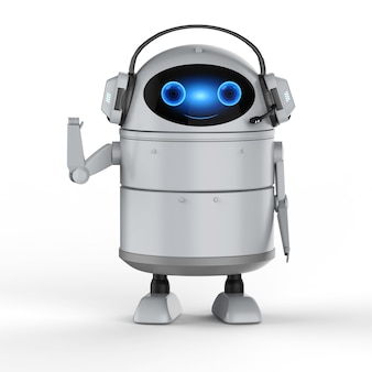 Conceito de bot de bate-papo com renderização em 3d do robô android com a mão do fone de ouvido para cima
